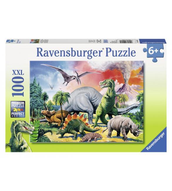 Пазлы Среди динозавров 100