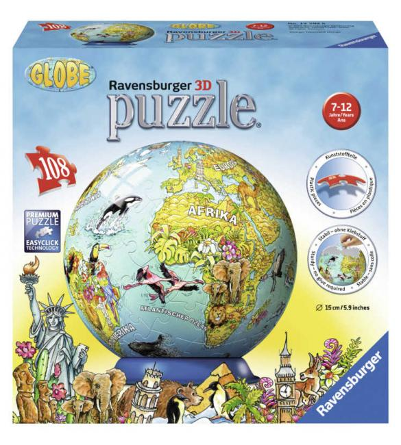 Пазл-шар Детский иллюстрированный глобус
