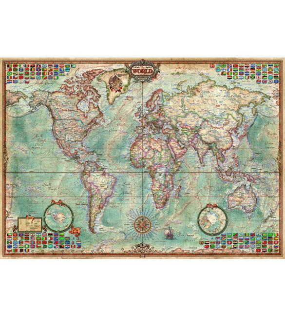 Пазлы Карта мира 1500