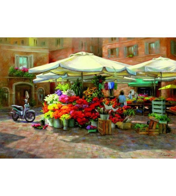 Пазлы Цветочный рынок 1500