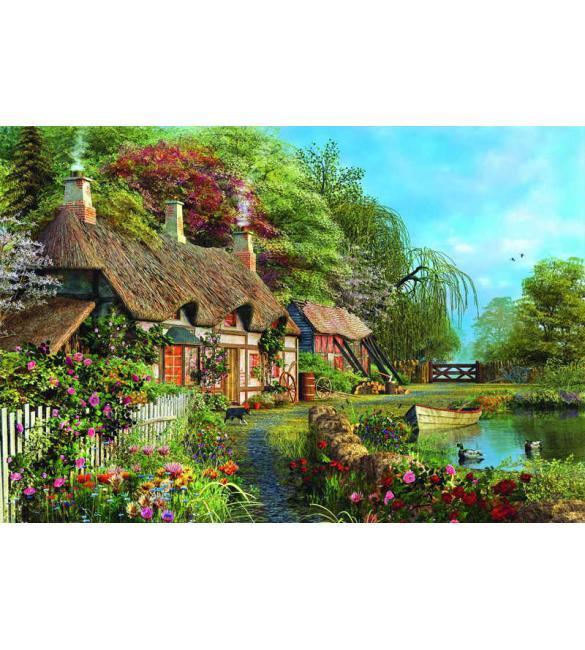 Пазлы Прибережный коттедж с цветами 4000