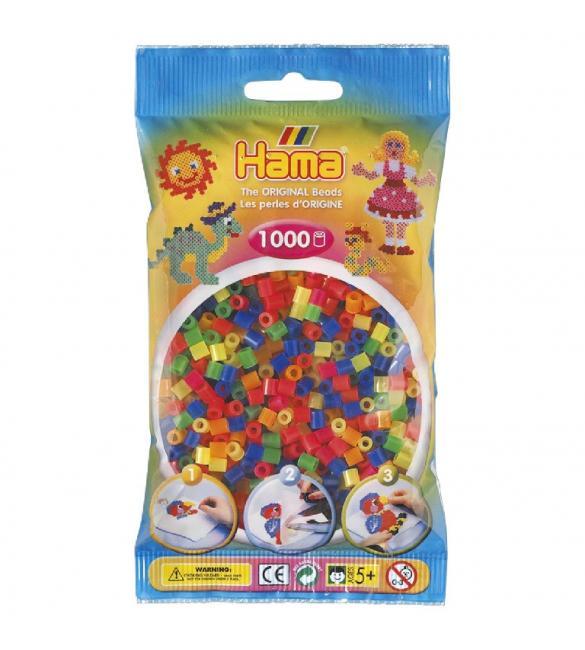 Набор 1000 цветных бусин для термомозаики 6 неоновых цветов 5+