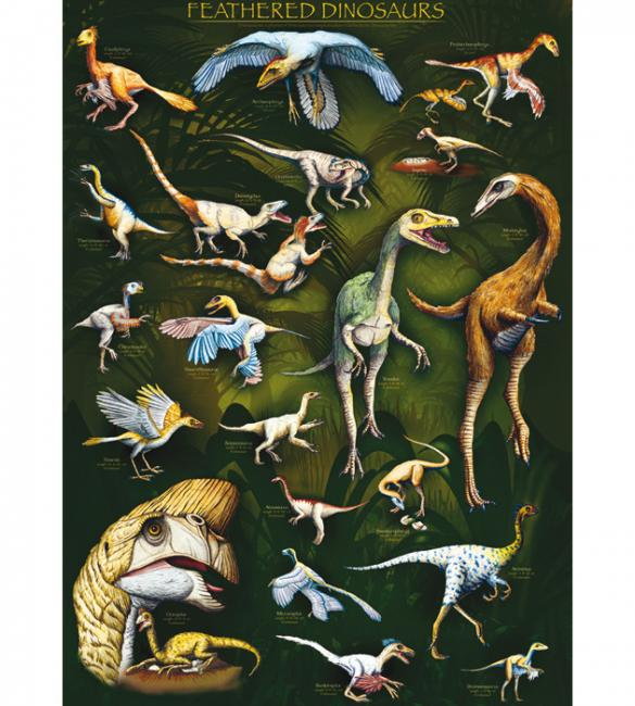 Пазлы Пернатые динозавры 1000