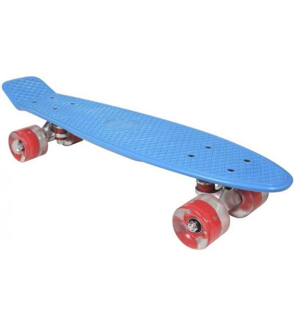 Скейтборд AWAII SK8 Vintage 22.5' со светящимися колесами, синий, до 100кг