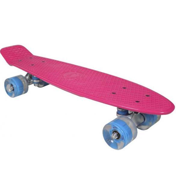 Скейтборд AWAII SK8 Vintage 22.5' со светящимися колесами, розовый, до 100кг