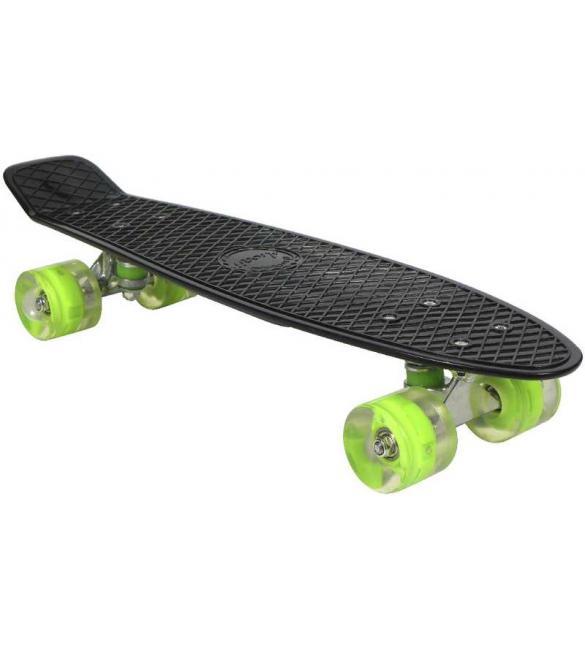 Скейтборд AWAII SK8 Vintage 22.5' со светящимися колесами, черный, до 100кг