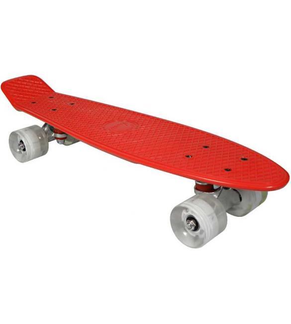 Скейтборд AWAII SK8 Vintage 22.5' со светящимися колесами, красный, до 100кг