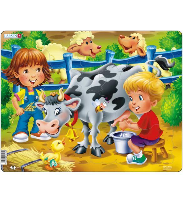 Пазлы Ферма - Дети и корова МАКСИ