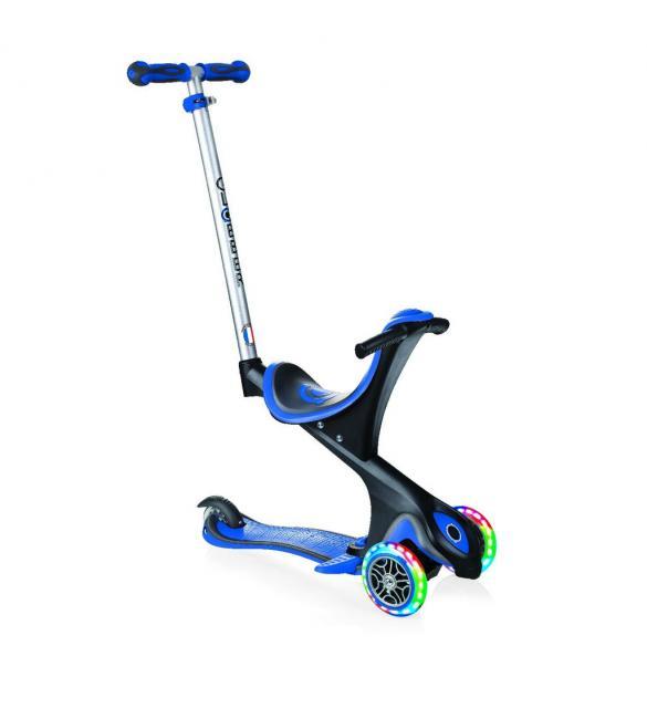 Самокат GLOBBER серии EVO COMFORT LIGHTS 5 в 1 синий, колеса с подсветкой, до 20/50кг, 1+