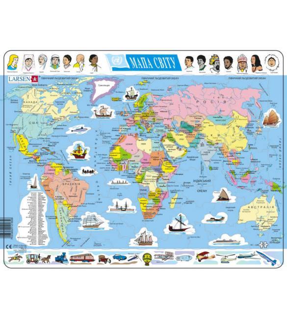 Пазлы Политическая карта мира (на украинском языке)
