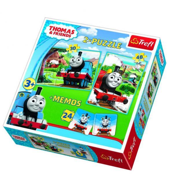 Пазлы Томас и его друзья пазл 2в1 + мемо 30-48  и 24 карточки