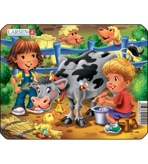 Пазлы Ферма - Дети и корова МИНИ