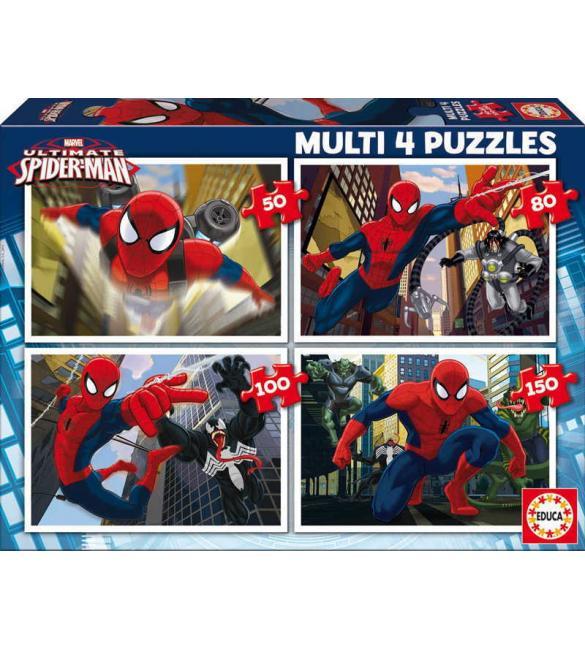 Пазлы Человек-паук 50-80-100-150 (4 в1)