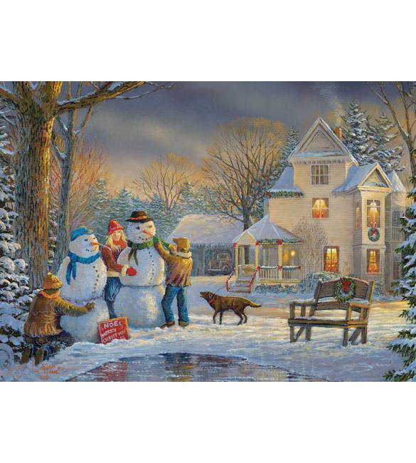 Пазлы Снеговики №2  1000
