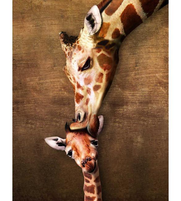 Пазлы Жирафы - материнский поцелуй 100