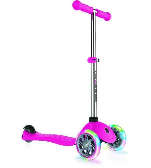 Самокат GLOBBER серии PRIMO LIGHTS, розовый, колеса с подсветкой, до 50кг, 3+, 3 колеса