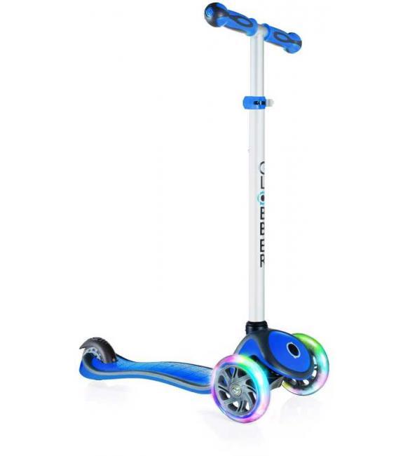 Самокат GLOBBER серии PRIMO PLUS LIGHTS, синий, колеса с подсветкой, до 50кг, 3+, 3 колеса