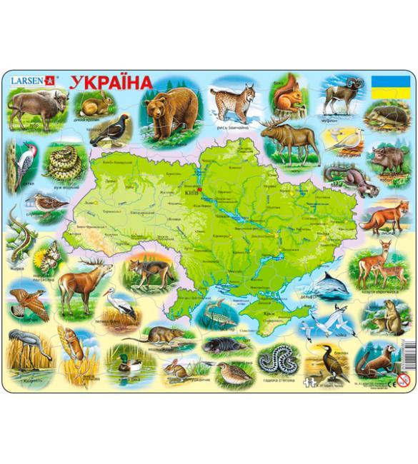 Пазлы Карта Украины - животный мир